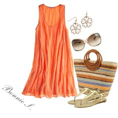 """""""summery outfit"""" by bonnaroosky on Polyvore.  Love the color of dress, would just do a more flattering shape for an hourglass."""