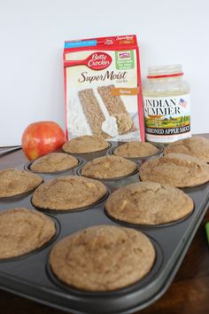 Delicious and easy Apple spice muffins are made with only 3 ingredients! I used spice cake, apple sauce and a chopped up fresh apple. A moist, filling and easy muffin to make. Köstliche Desserts, Dessert Recipes, Spice Cake Mix Recipes, Healthy Apple Desserts, Recipe Spice, Health Desserts, Plated Desserts, Applesauce Spice Cake, Apple Spice Cake