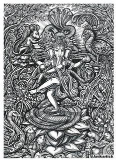 Vinayakar by Anikar Arte Ganesha, Shri Ganesh, Lord Ganesha Paintings, Ballpoint Pen Art, Legends And Myths, Madhubani Art, Indian Art Paintings, Indian Artist, Hindu Art