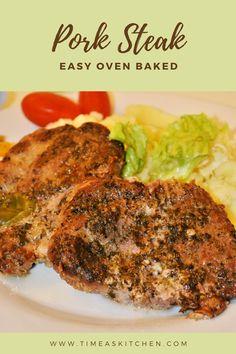 Oven Baked Pork Steak Recipe, Baked Pork Steaks Oven, Pork Loin Steak Recipes, Grilled Pork Steaks, Steak Dinner Recipes, Oven Pork Chops, Pork Roast In Oven, Grilled Roast, Pork Meals
