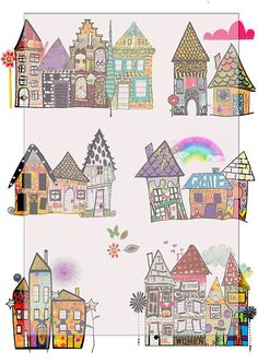 whimsical houses scrapbook/journal art by on Etsy Album Journal, Scrapbook Journal, House Doodle, Art Fantaisiste, Iron On Fabric, Creative Journal, Journal Ideas, House Quilts, House Drawing