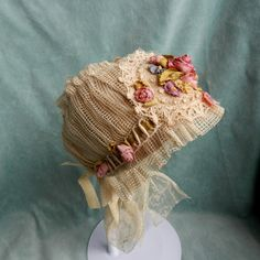 Antique French Tulle Lace Doll Bonnet with Silk Ribbon Work | eBay