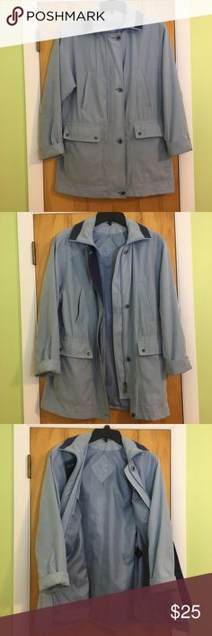 Raincoat Buttery soft light blue rain coat.  The brand is a mystery as it was custom embroidered with an E on the inside. Has removable hood. Small blue mark, pictured. Button detail is on point!  Come from a smoke free home & packed with care!  Bundle & save or make an offer ☺️ Jackets & Coats