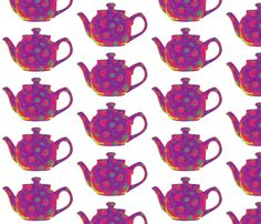 Teapot  Red fabric by koalalady on Spoonflower - custom fabric