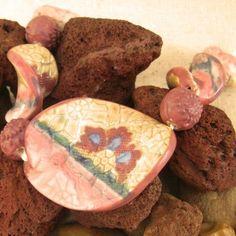 9 Bead Set of Twisted Ovals Handmade Beads, Stoneware, Porcelain, Ethnic Recipes, Etsy, Food, Porcelain Ceramics, Essen, Meals