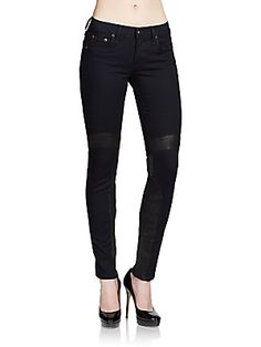 Rag & Bone Embroidered Leather-Front Skinny Jeans