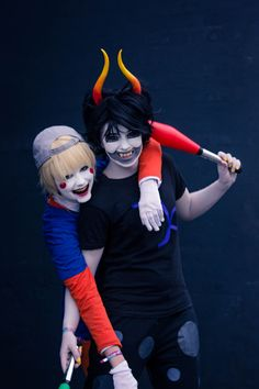 tiase: I wouldn't want to meet them during the night. Especially not Bianca as LiL Cal, way to scary! They both look really great in this photo =D Cosplayer(s): Dropsofmidnight & MadamepapercutSeries: HomestuckCharacter(s): LiL Cal & Gamzee MakaraPhotographer: Tiase ( Tumblr &  Facebook page )