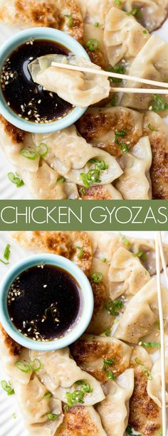 This Chicken Gyoza Recipe is amazing. The dumplings are crispy on the outside wh. , This Chicken Gyoza Recipe is amazing. The dumplings are crispy on the outside while the chicken is tender and juicy on the inside. Chicken Gyoza, Chicken And Dumplings, Steamed Dumplings, Potsticker Recipe Chicken, Healthy Recipes, Asian Recipes, Cooking Recipes, Asian Desserts, Japanese Food Recipes