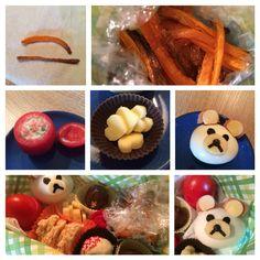 """Lunch Box - Teddys Frittierzauber - """"frittierte"""" Möhrensticks (geölt, gesalzt, gebacken) / mit Tomaten-Basilikum-Joghurt-Dip gefüllte Tomate / Käse-Herzen / Teddy aus gekochtem Ei mit Ohren aus Würstchen und Käse / dekoriert mit Tomatenschalen-Röschen, selbstgemachten Joghurt-Erdbeer-Müsli-Keksen und Pralinen"""
