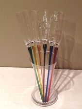 Colored Champagne Glasses | ... Multi Colored Long Stem Champagne Flutes/Wine Glasses in Vase Champagne Flutes, Martini, Diffuser, Glass Vase, Tableware, Ebay, Dinnerware