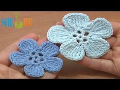 Crochet 5-Petal Flat Flower of Tall Complex Stitches Tutorial 49 Part 2 of 2 - YouTube