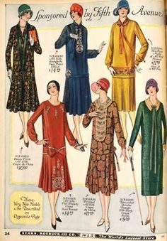 Drop-waist dresses in the Sears catalog, 20s Fashion, Art Deco Fashion, Fashion History, Fashion Dresses, Vintage Fashion, Fashion Design, Fashion Black, Women's Dresses, Fashion Ideas
