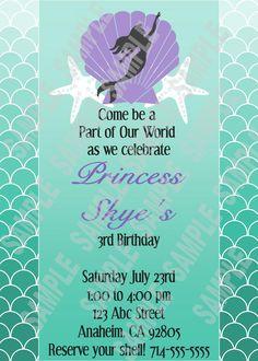 The Little Mermaid - Princess Ariel Birthday Party Invitation $10.00, via Etsy.