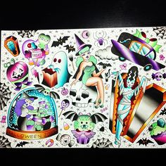 Ok... I think I'm done... These designs will be available at the #trailertrashtattoo halloween  on the 2nd November:)