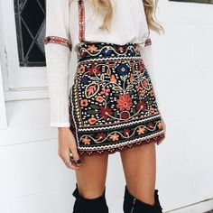 $33.90 - Bohemian skirt from Pasaboho. Fashion trend and styles from hippie chic, modern vintage, gypsy style, boho chic, hmong ethnic, street style, geometric and floral outfits. We Love boho style and embroidery stitches. Hippie girls with free spirit sharing woman outfit ideas and bohemian clothes, cute dresses and skirts.