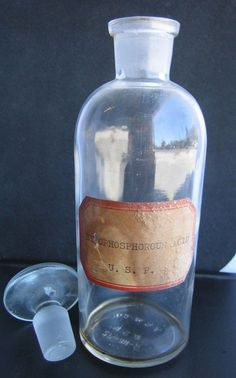 $24.95 VTG Hypophosphorous Acid Bottle with ground glass stopper TCW USA Apothecary Rx