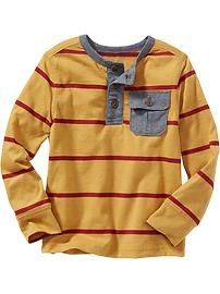 Striped Henley Tee with Pocket for Baby
