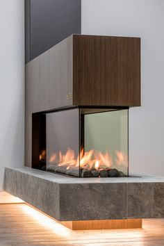 Stoke Fireplace Studio - Bringing The World's Most Evolved Fireplaces to Australia - The Local Project House Design, Glass Fireplace, Accordion Glass Doors, Contemporary Fireplace Designs, Home Interior Design, Villa Design, Fireplace, Lounge Design, Diy Home Decor On A Budget