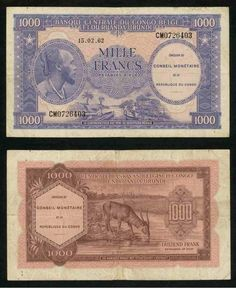 Pick # 13-1952 Belgian Congo Banknote 5 Francs Old Rare
