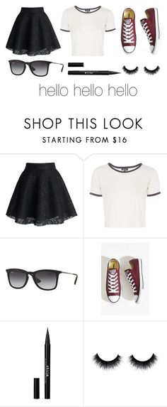 """""""hello"""" by lollie2142 ❤ liked on Polyvore featuring Chicwish, Topshop, Ray-Ban, Converse and Stila"""