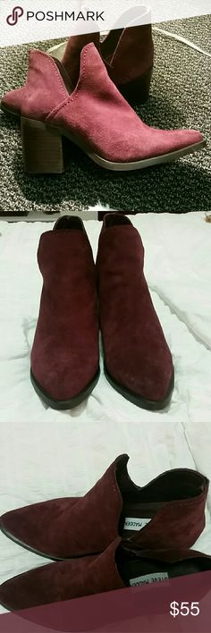 STEVE MADDEN PREEZIE BOOTIE BURGUNDY SUEDE Only used to try on and walk around. In excellent condition! The color is a little more purple than the picture shows. Actual color is the first picture. Steve Madden Shoes Ankle Boots & Booties
