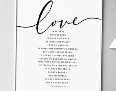 Bible Verse Wall Art 1 Corinthians 13 Above Bed Decor Set of 3 Prints Love is patient love is kind love never fails Christian Decor DIGITAL FILE SIZES INCLUDED 5x7 8x10 11x14 12x16 A3 16x20 18x24 24x36   After purchasing this artwork you will immediately receive your DOWNLOAD links on your invoice and via your confirmation email from Etsy. Remember this item is for digital download ONLY. No physical item will be shipped. After downloading them you can then print them using your home printer… Artwork Above Bed, Above Bed Decor, Bible Verse Wall Art, Bible Verses, Christian Decor, Southwestern Decorating, Love Never Fails, Love Is Patient, Cactus Print