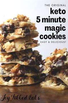 Loaded with chocolate, nuts, and coconut and mixing up in just 5 minutes these cookies based on the classic magic cookie bars will blow you away. They are keto, low carb, sugar-free, gluten-free, and… Best Low Carb Recipes, Keto Recipes, Healthy Recipes, Cookie Recipes, Dessert Recipes, Baking Recipes, Sugar Free Desserts, Sugar Free Recipes, Low Carb Desserts