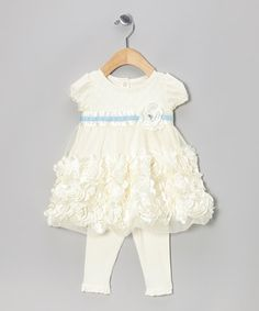 Beige Petal Puff-Sleeve Top & Leggings . You cannot have too much foo foo on sweet baby girls!