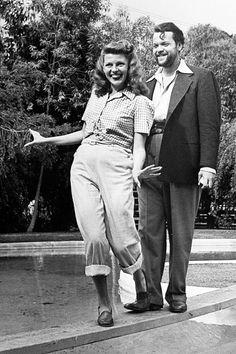 Rita Hayworth clowning with husband Orson Welles #oldhollywood #vintagephoto