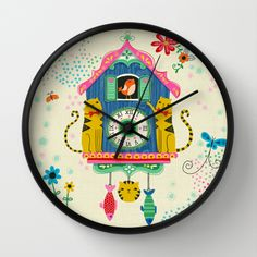 """Cuckoo Clock Cats"" Wall Clock by Anne Was Here on Society6."