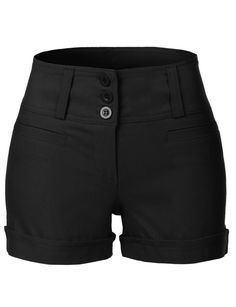 LE3NO Womens Classic High Waisted Sailor Shorts with Pockets