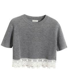 Vintage Lace Split Joint Short Sleeves T-shirt