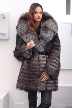 FUR COAT JACKET SILVER FOX MILANO FASHION PELZE PELZMANTEL FUCHS VOLPE лиса мех