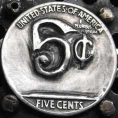 LARRY FOSTER HOBO NICKEL - REVERSE OF 2 SIDED 1935 BUFFALO NICKEL CARVING Hobo Nickel, Larry, The Fosters, Buffalo, Coins, Carving, Rooms, Wood Carvings, Sculptures