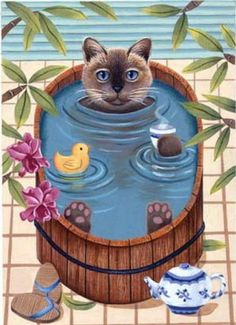 Hot Tub Cat by Elizabeth Brownd. #cats #art #cute