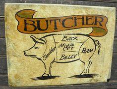hand painted faux-retro  # Butcher shop sign by ZekesAntiqueSigns