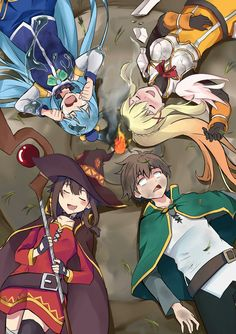 Kazuma, Aqua, Megumin y Darkness Otaku Anime, Konosuba Anime, Chica Anime Manga, Anime Kawaii, Anime Art, Konosuba Wallpaper, Wallpaper Animes, Animes Wallpapers, Anime Style