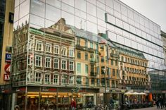 Sweden, Malmo, Old Town, Glass building reflection, Glass Building, Old Town, Adventure Travel, Sweden, Reflection, Multi Story Building, Old Things, Street View, Europe