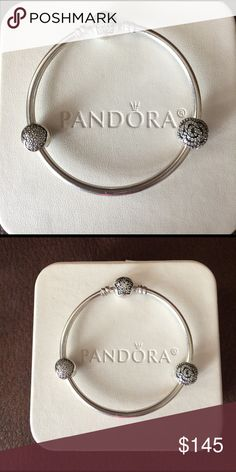 Pandora star bangle gift set Authentic pandora, comes with 2 clips. 1 shimmering rose; 1 love of my life. Retail value $205 Pandora Jewelry