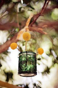my favorite: billy buttons and mason jar