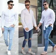 Simple white shirt and jeans look from Which do you prefer? Mens Light Wash Jeans, Stylish Men, Men Casual, White Shirt And Jeans, Trendy Collection, Swagg, Teen Fashion, Male Fashion, Instagram Fashion