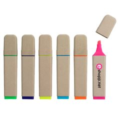 This are awesome, eco friendly highlighters that come is great fun colors! Your logo will pop on the 30% recycled wood barrel for a promo item that kids will love as well as adults.