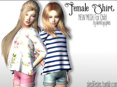 - New mesh. Found in TSR Category 'sims 4 Female Child Everyday'