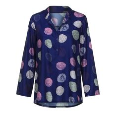 58a368e693f Women Blouse MITIY Women Dot Stand Long Sleeve Work Office Button Plus Size  Blouse Top TShirt -- Click image for more details. (Note Amazon affiliate  link)