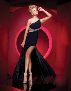 Jersey A-Line Sleeveless Beaded One-Shoulder Neckline Prom Dress