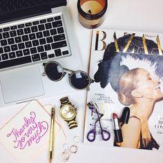 Photo styling | Desk flat lay | Bazaar, laptop & sunglasses