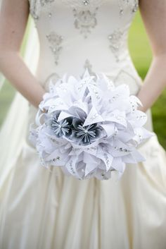 Crystal studded paper bouquet | Photo by Minerva Photography