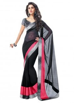 Black saree with lurex border