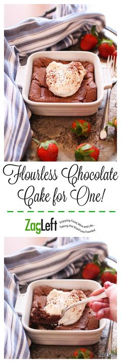 A decadent, gluten-free Flourless Chocolate Cake For One! Rich and delicious, this single serving dessert will surely satisfy a chocolate craving. Single Serve Desserts, Single Serving Recipes, Cooking For One, Meals For One, Food Cakes, Mug Recipes, Cooking Recipes, Cooking Rice, Recipies