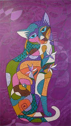 Sedef Yılmabaşar Ertugan Foto Transfer, Cat Character, Cat Fabric, Cat Quilt, Watercolor Cat, Fantasy Paintings, Cat Cards, Cat Colors, Arte Pop